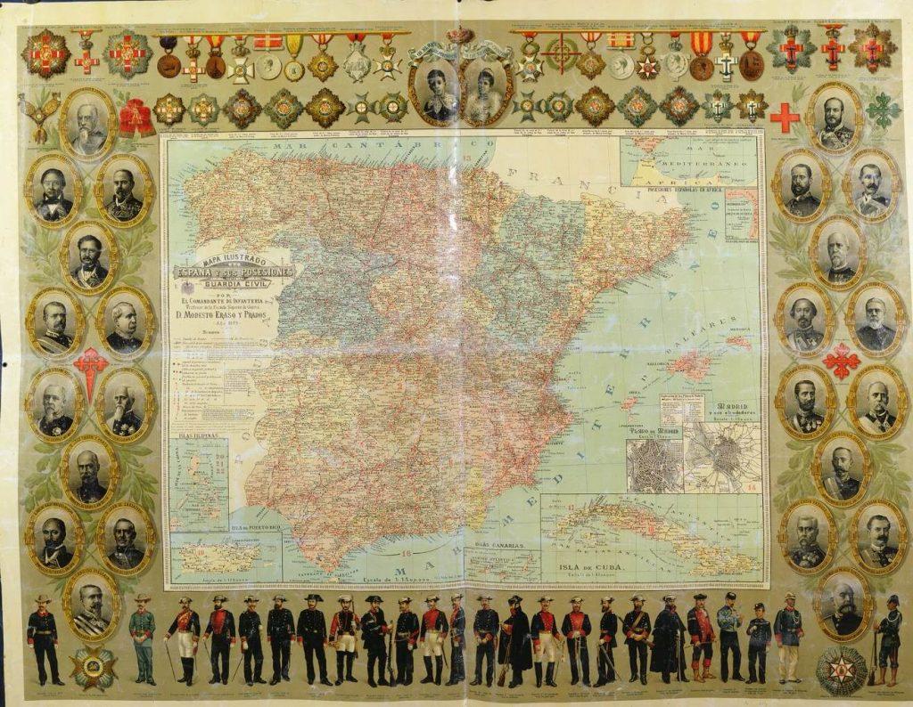 España y sus posesiones mapa ilustrado - interior libro Atlanticidad